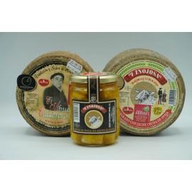 Queso El Abuelo pequeño + Queso semicurado pequeño + Tarro Queso curado en aceite pequeño